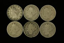 Mixed Date Lot Of 6 5c Liberty V-nickels - Free Shipping Us