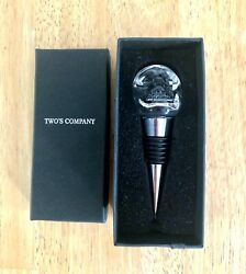 Clear Glass Skull Bottle Stopper By Two's Company