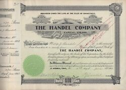 Handel Lamp Company Stock Certificate 1 Signed By Philip Handel And Albert Parlow