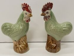 Pair Of Early 20th Century Chinese Export Porcelain Cockerel Rooster Figurines