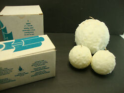 Lot Of 3 Partylite Snowball Candles One 6 Candle And Two 3 1/2 Candles