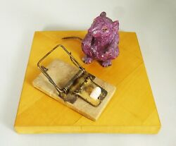 Rare Vintage Mouse Carved Of Ruby Sitting By A Mouse Trap On A Wood Base