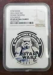 2016 Star Wars Ngc Pf 69 Niue 1oz Silver 2 Stormtrooper Ultra Cameo/colorized