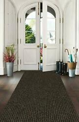 Runners 3and039 X Length Brown Brick Durable Grip Rubber Backed Aisle Hallway Floor