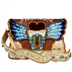 Dolce And Gabbana Shoulder Bag Lucia Dg Angels W. Wings Crystals Studs Gold 09608