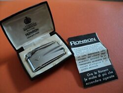 Antique 1950s Ronson Varaflame Vf215 Model Chrome Luxe In Original Box W Papers