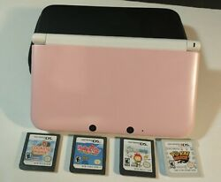 Nintendo 3ds Xl White And Pink Handheld System Bundle With Case And 4 Games