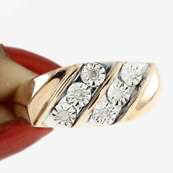 0.09ct Round Cut Real Diamond 14k Rose Gold Over Band Ring Free And Fast Shipping