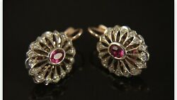 Russian Vintage 583 K - 14 K White And Rouse Gold Diamonds Ruby Earrings
