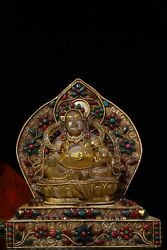 24 Cm China Tibet Buddhism Natural Crystal Yellow Fortune God Statue Inlay Gem