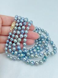 14k Graduated Blue Japanese Akoya Cultured Saltwater Pearl Necklace Opera 49in