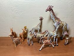 Lot Of 9 Vintage Aaa Giraffe And Other Brands Plastic Toy African Animals Zoo