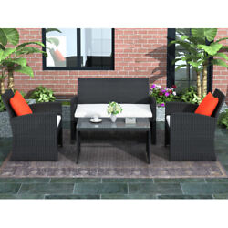 Us 4pcs Outdoor Patio Set Rattan Loveseatandchairs With Tempered Glass Tabletop