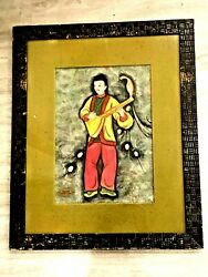 Beautiful Antique Chinese Fantasy Watercolor On Paper Painting Boy By So-lang
