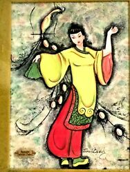 Beautiful Antique Chinese Fantasy Watercolor On Paper Painting Signed So-lang