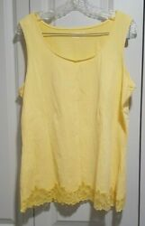 Coldwater Creek Yellow Lace Tank Top 1x