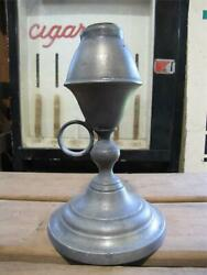 Antique 19c Pewter Whale Oil Lamp Handle Chamberstick 1800s Light