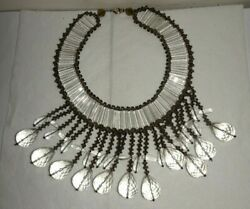 Artisan Heavy Dangle Tear Drop Faceted Glass Lucite Beaded Statement Necklace