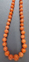 Delightful Long Vintage Real Carved Salmon Coral Bead Necklace 10g