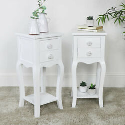 Pair Slim White Bedside Tables Vintage Shabby Chic French Bedroom Furniture Set