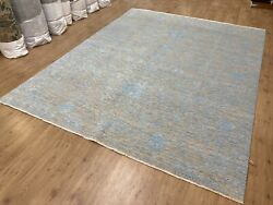 8and039 X 10and039 Fine Handmade Wool And Silk Area Rug Gray Light Blue M8039-40