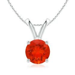 1.24ctw V-bale Round Fire Opal Solitaire Pendant In Silver/gold/platinum