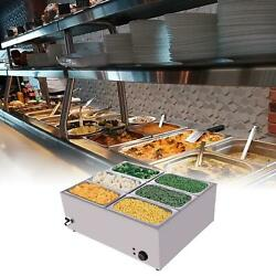 6 Cells Electric Food Warmer Bain Marie Steam Table 1500w 110v Commercial Us