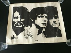 Vintage Poster 1960's Cream Rock Band Eric Clapton Wooster Ohio 23 X 39