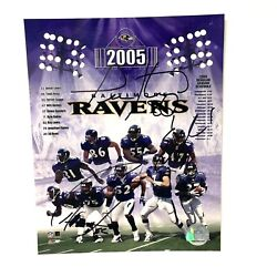 Ray Lewis Ed Reed And Todd Heap Autographed Photo 2005 Ravens Numbered