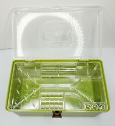 Wilson Wil-hold Avocado Green Flame Pattern Emb.sewing Box W/tray And Contents Usa