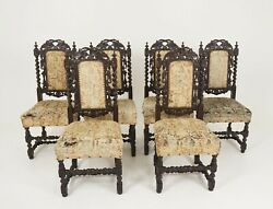 6 Antique Victorian Chairs, Carved Oak, Gothic Revival, Scotland 1880, B2347