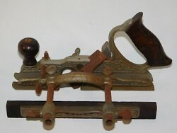 Antique Stanley No. 46 Skew Plow Cutter Combination Wood Plane Vintage Tool Usa