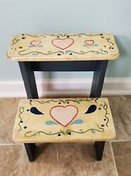 Vintage Hand-painted Wooden Step Stool