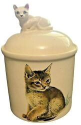 Vtg Cookie Jar Lidded White Ceramic Tabby Cat Hand Painted 9 Inch Biscuit Treat