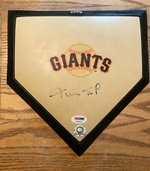 Willie Mays Signed Vintage Mini Homeplate, Giants, Hof - Mlb And Psa/dna Auth