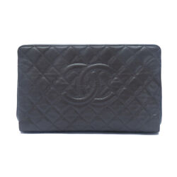 Quilted Caviar Timeless Cc Large Frame Clutch Bag Grey
