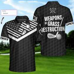 Personalized Name Golf Weapons Of Grass Destruction 3d Polo Shirt