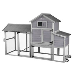 Chicken Coop w Run Hen House w Large Nesting Box Poultry Cage on Wheel Movable