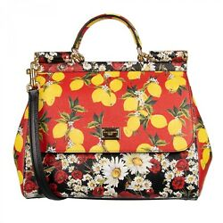 Dolce And Gabbana Lemon Poppy Printed Dauphine Leather Bag Sicily Red Yellow 09601