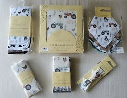 Copper Pearl Jo Bundle Quilt, Blanket, Burp Cloths, Bibs, And More Brand New