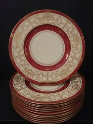 Antique Minton 51 Tatman Chicago Dinner Plates Red Gold 10-1/2 Lot Of 12