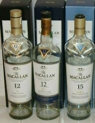 Empty Macallan 12 And 15 Highland Scotch Whisky Bottles And Boxes Whiskey Lot 750ml