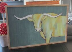 Longhorn Cow Wall Picturewood Frameprimitive/french Country/farmhouse Decor