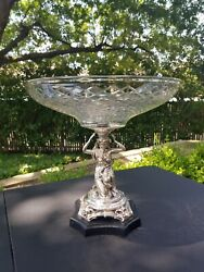 Neoclassical Diamond Cut Glass And Silver Figural Centerpiece Compote Bowl 12 1/2