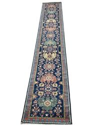 3and039 X 19and039 Fine Handmade Veggie Dyes Handspun Wool Rug Runner Navy Red Gold