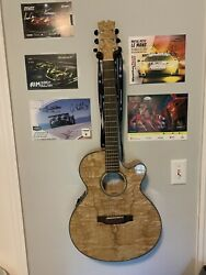 Mitchell Acoustic Electric Guitar Quilted Ash Burl With Built In Tuner