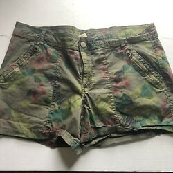 Faded Glory Green Brown Floral Print Shorts Sz 18 A859