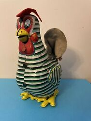 Vintage Mikuni Tin Litho Rooster Toy Felt Comb And Feathers Green 7 Japan Batt Op