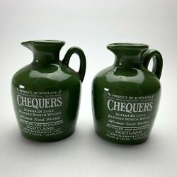 Vintage Lot Of 2 Chequers Miniature Scotch Whiskey Bottles Jugs Pitchers