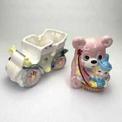 Vintage Japan Gift Wares Nancy Pew Teddy Bear And Car Planters - 7 And 4 Long